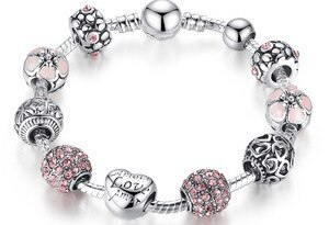 BAMOER Antique Silver Strand Bangle & Bracelet with Love Charm and Flower Crystal Ball for Women Wedding PA1455