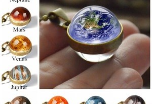 New Personality Fashion Double Side Glass Ball Necklace Earth Planet Pattern Jewelry Galaxy Astronomy Pendant Necklace