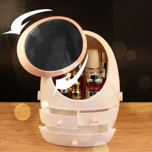 Cosmetic Storage Box with LED Light Mirror Makeup Organizer Portable Cosmetic Box Jewelry Container Dust-proof Drawer Beauty Box