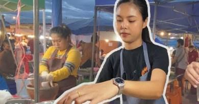 CUTE THAI GIRL SERVES ME DUMPLINGS IN NIGHT MARKET (THAILAND)