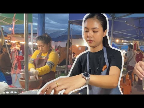 CUTE THAI GIRL SERVES ME DUMPLINGS IN NIGHT MARKET (THAILAND)