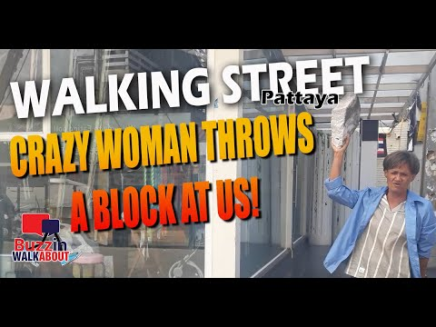 Strolling Avenue Pattaya – Crazy lady with a mosey block and extra food for concept! Test it out…
