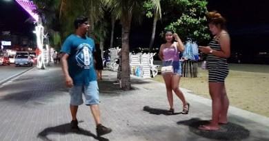 pattaya seaside facet road and freelancers at work