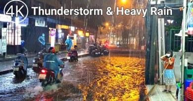 [4K THAILAND] Strolling in Thunderstorm, Heavy Rain and Flash Flood in Bangkok