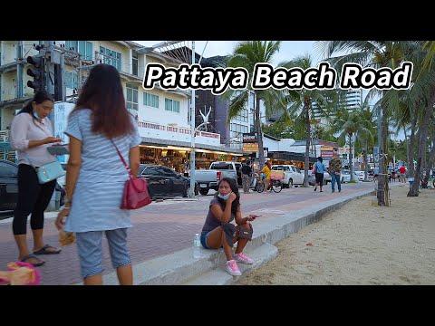 Pattaya Coastline Street Mosey on Monday Late Afternoon, October 2021 Thailand 4k