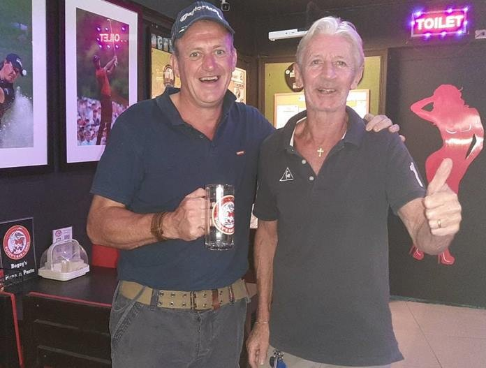 (L to R) Monthly Mug Winner Colm Lawlor with the runner up Patrick Poussier. (Both were Flight winners).
