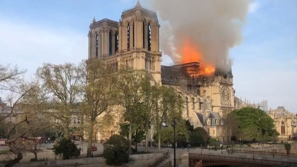 Video: The Notre Dame Cathedral In Paris Is On Fire