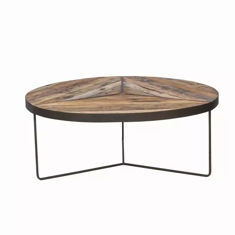 recycled boatwood round rustic coffee table large
