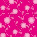 ピンクベースのポップな草花のパターン