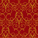 赤ベースのアラベスク柄パターン