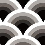 白黒灰色のモノトーンの波柄のパターン