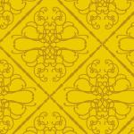 格子状にくぎられた金色のアラベスク柄パターン