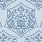 淡いブルーのダマスク柄西欧風パターン