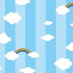 青いストライプと空のイラストパターン