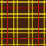 茶色と黄色ラインのタータンチェック柄パターン