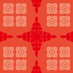 赤ベースのハワイアンキルト柄パターン
