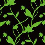 黒と緑のクールな植物のイラストパターン