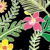 黒背景のジャングルのような草花のパターン