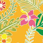 オレンジ背景の沖縄感漂う草花のパターン