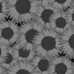 黒ベースにアレンジされ、ダークな印象を受けるヒマワリの花のパターン