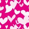 ピンクの背景に様々な形のハートが散らばるパターン