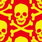 赤と黄色の頭蓋骨のイラストパターン