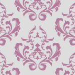 紫とグレー配色の女性的なダマスク柄パターン