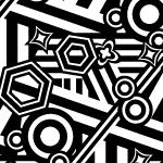ランダムに様々な図形が並ぶモノクロパターン
