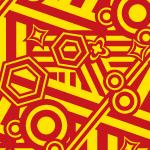 インパクトのある配色のランダムな図形パターン