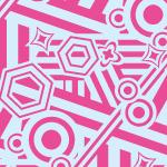 キュートな配色でランダムに図形が並ぶポップパターン