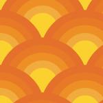 オレンジベースの青海波柄パターン