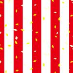 紅白のストライプに紙吹雪が舞うおめでたいパターン