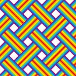 虹色のラインが交差するバスケットチェックパターン