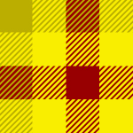 赤と2色の黄色のガンクラブチェックパターン