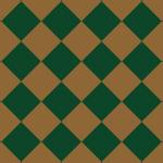 茶色と緑色の渋いハーリキンチェック柄パターン
