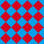 青と赤のハーリキンチェック柄パターン