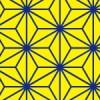 黄色と青の麻の葉柄パターン