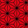 赤と黒の麻の葉柄パターン