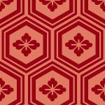 濃淡のある赤色の亀甲柄パターン