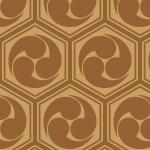 茶色の亀甲三つ巴のパターン