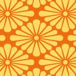 オレンジ色の菊菱柄パターン