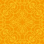 オレンジ色のアラベスク柄・西欧風パターン