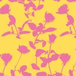 ピンクと黄色の植物をモチーフにしたボタニカル柄パターン