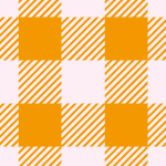 オレンジ色のシェパードチェック柄パターン