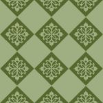 緑色のアジアン調の模様が入ったハーリキンチェックパターン