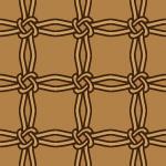 茶色の紐が結ばれながら交差するパターン