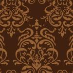 茶色のダマスク模様パターン