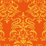オレンジ色のダマスク柄パターン