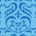 青色のハートを模したダマスク柄パターン