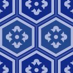 紺色の亀甲柄パターン